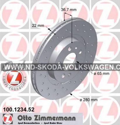 BRZDOVÝ KOTOUČ PŘEDNÍ VĚTRANÝ SPORTDISC/VRTANÝ 280X22MM OCTAVIA