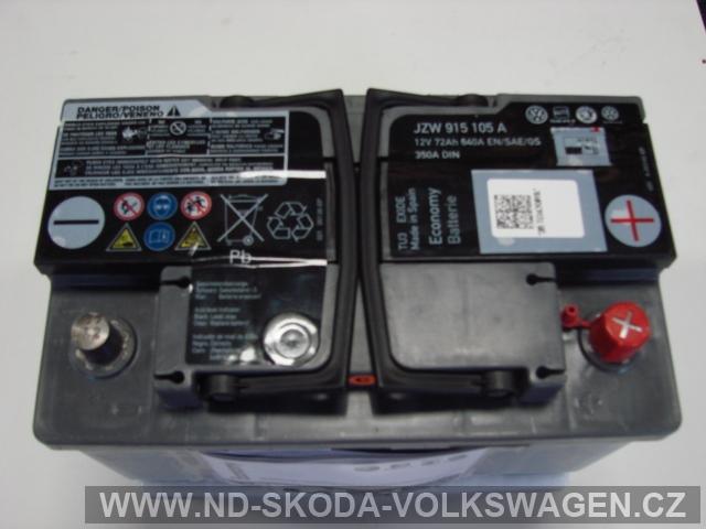 ORIGINÁL AUTOBATERIE 12V 72Ah 640A/350A DIN EN/SAE/GS ŠKODA/VW PRO MOTORY TDI (S UKAZATELEM NABITÍ)