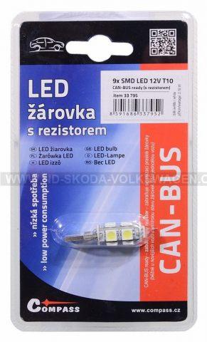 ŽÁROVKA 9X SMD LED 12V T10 S REZISTOREM CAN-BUS READY - BÍLÁ