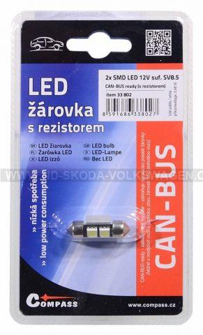 ŽÁROVKA 2X SMD LED 12V SUFIT SV8.5 S REZISTOREM CAN-BUS READY - BÍLÁ