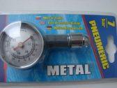 Profesionální celokovový měřič tlaku v pneumatikách. Rozsah až 0,5 - 7 Atm.